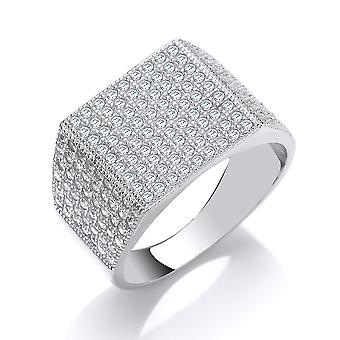 Jewelco London Mens Rhodium Plated Silver white Round Brilliant Cubic Zirconia Pave Encrusted Square Signet Ring
