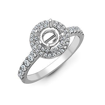 Jewelco London Solid 18ct White Gold Pave Set Round G SI1 0.55ct Diamond Semi Set Mount Engagement Ring 11.5mm