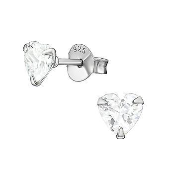 Heart - 925 Sterling Silver Classic Ear Studs - W17518X