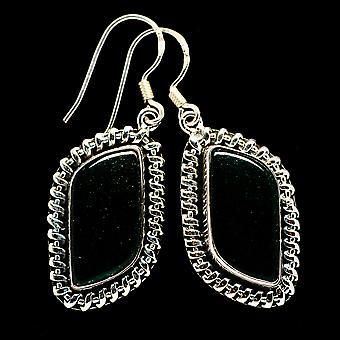 Green Aventurine 925 Sterling Silver Earrings 1 3/4