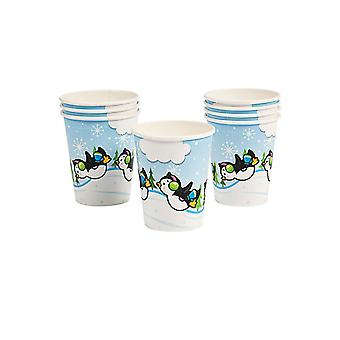 8 Penguin Party Christmas Paper Cups | Christmas Party Tableware