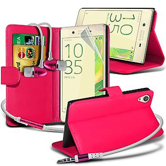 i-Tronixs Sony Xperia E5 Case PU Leather Wallet Flip Cover + Earphones -Pink