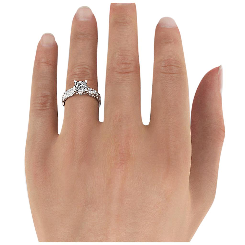 1.36 Carat G SI1 Diamond Engagement Ring 14K White Gold Solitaire w Accents Filigree Princess