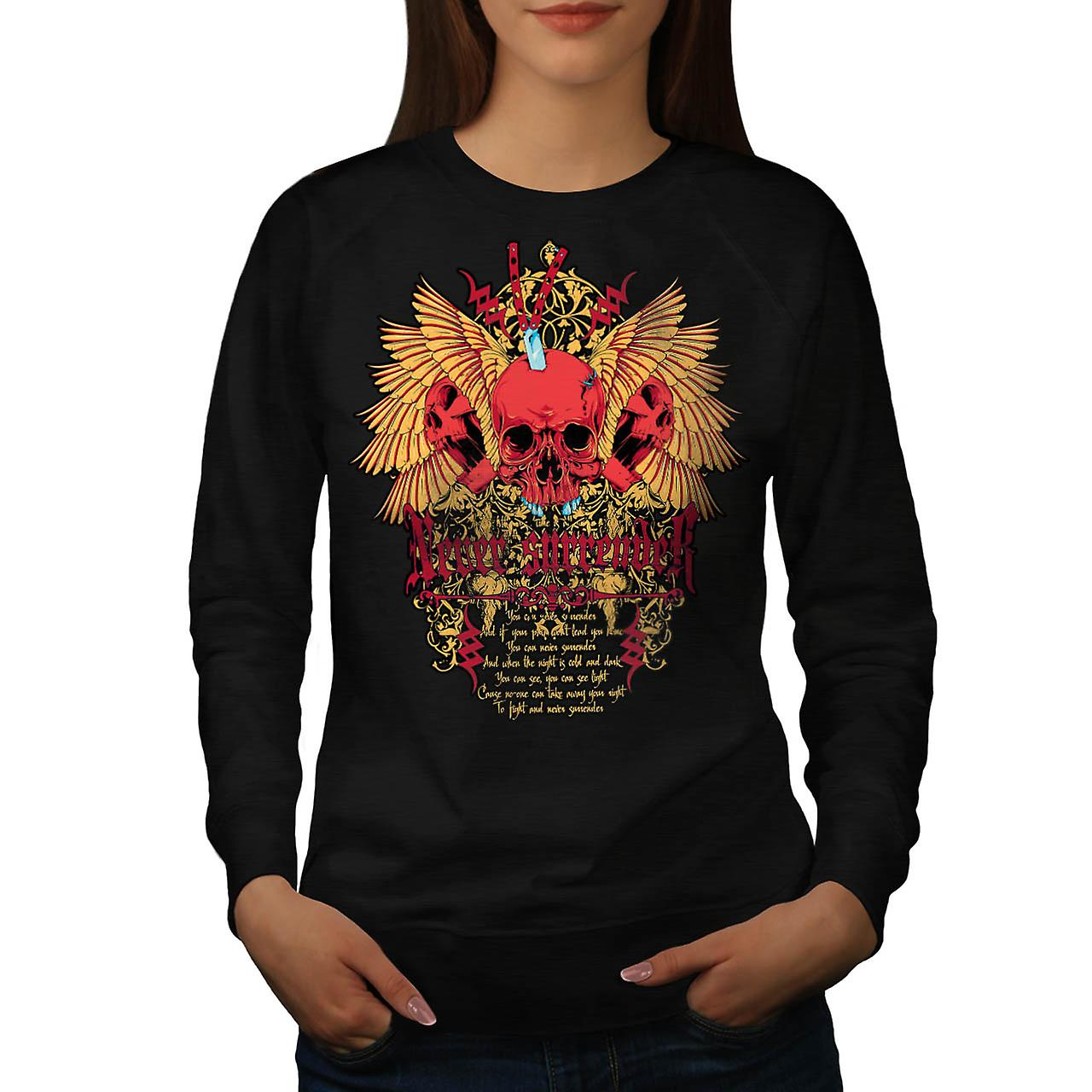 Never Surrender Skull Curse Head Women Black Sweatshirt | Wellcoda