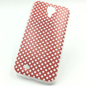 Cell phone case for Samsung Galaxy S4 cover case protective bag motif slim silicone TPU polka dot Red