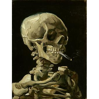Skull With Cigarette Poster Print by Vincent Van Gogh