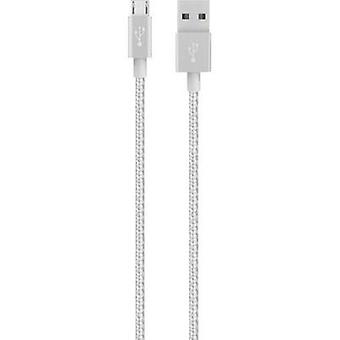 USB 2.0 Cable [1x USB 2.0 connector A - 1x USB 2.0 connector Micro B] 1.20 m Silver with sleeve Belkin