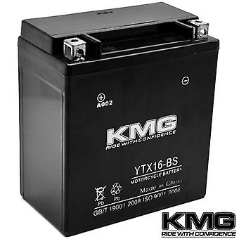 KMG YTX16-BS Battery For Suzuki 1600 Marauder, Boulevard M95 2004-2005 Sealed Maintenace Free 12V Battery High Performance SMF OEM Replacement Powersport Motorcycle ATV Snowmobile Watercraft
