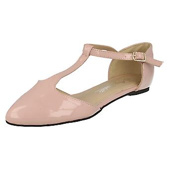 Ladies Anne Michelle Pointed Toe T-Bar Flats