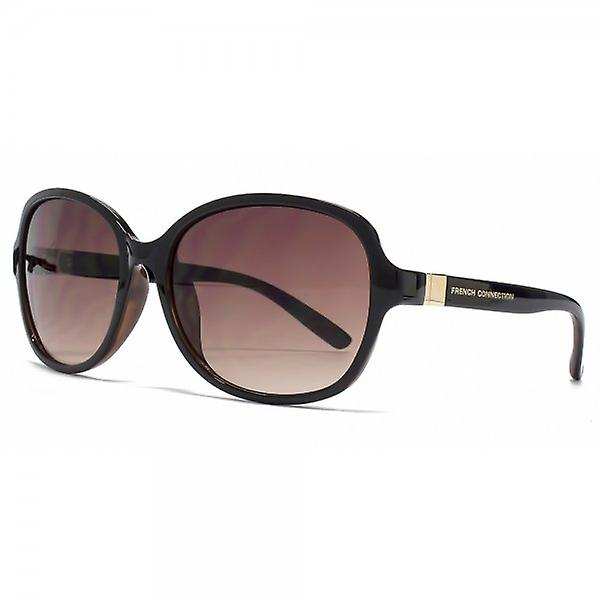 French Connection Square Sunglasses In Black On Tortoiseshell Black On Tortoiseshell