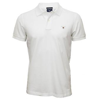 Polo in piquet Gant solido, bianco