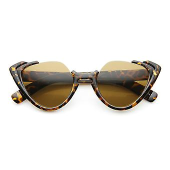 High Fashion Open Top Semi-Rimless Womens Cat Eye Sunglasses