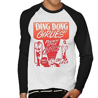 Ding Dong Girlies fransk stil tjejer mäns Baseball Långärmad T-Shirt