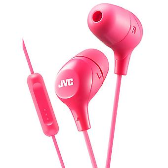 JVC In-Ear Headphones with 1 Button Remote Control And Mic - Pink (HAFX38MP)