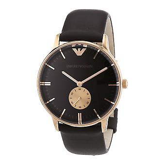 Emporio Armani AR0383 Gianni Brown Leather Strap Gold Bezel Watch
