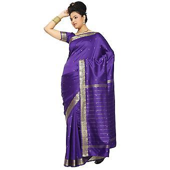Paarse Art Silk Saree Sari stof India gouden rand