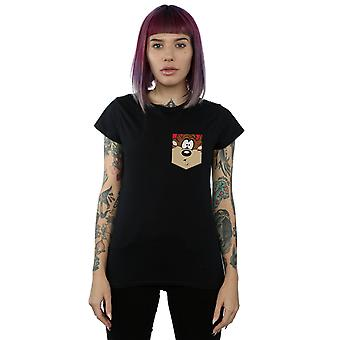 Looney Tunes Women's Tasmanian Devil Face Faux Pocket T-Shirt