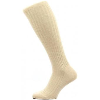 Pantherella Laburnum Rib Over the Calf Merino Wool Socks - Light Khaki