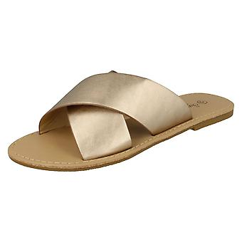 Ladies Savannah Flat X Strap Mules F00074