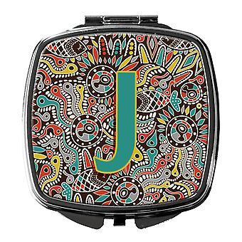 Letter J Retro Tribal Alphabet Initial Compact Mirror