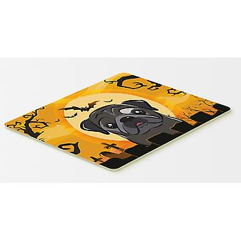 Carolines Treasures  BB1821CMT Halloween Black Pug Kitchen or Bath Mat 20x30