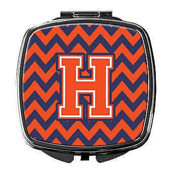 Carolines Treasures  CJ1042-HSCM Letter H Chevron Orange and Blue Compact Mirror