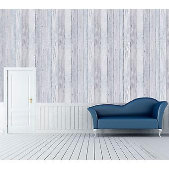 Wood Effect Wallpaper Wooden Plank Grain Weathered Realistic Blue Grandeco