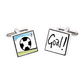 Football Goal Cufflinks by Sonia Spencer, in Presentation Gift Box. Hand painted