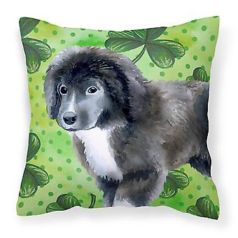 Newfoundland Puppy St Patrick's Fabric Decorative Pillow