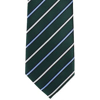 Michelsons of London Even Stripe Polyester Tie - Green