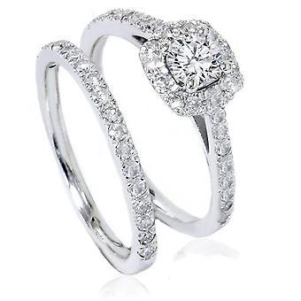 ct 1 cuscino Halo diamante fidanzamento anello nuziale Set 14k oro bianco