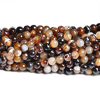 Strand 40+ Brown Banded Agate 8mm Faceted Round Beads CB36958-2