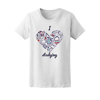 I Love Studying Heart Collage Tee Women's -Image by Shutterstock