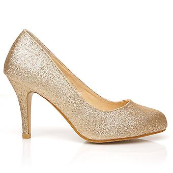 PEARL Champagne Glitter Stiletto High Heel Classic Court Shoes