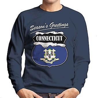 Seasons Greetings Connecticut State Flag Christmas Men's Sweatshirt