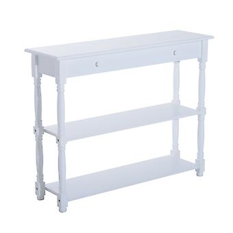 Homcom Wooden Entryway 3 Tier Console Table Vintage Shelves Hallway White