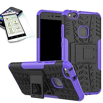 Hybrid tilfelle av 2 stykke lilla for Huawei P10 Lite + herdet glass bag coveret