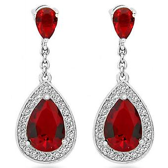 IBB London Teardrop Cubic Zirconia Earrings - Silver/Red