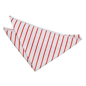 Vit & röd enkel rand näsduk / Pocket Square
