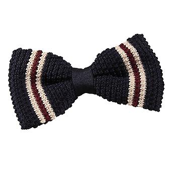 Navy with Burgundy & Cream Thin Stripe Knit Knitted Pre-Tied Bow Tie