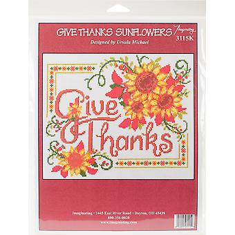 Give Thanks Sunflowers Counted Cross Stitch Kit-10
