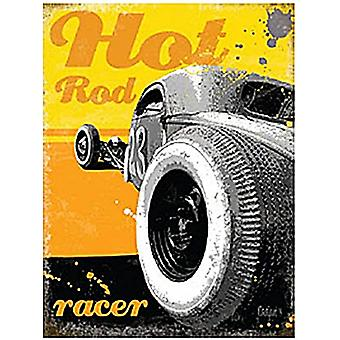Hot Rod Racer Small Metal Sign 200Mm X 150Mm