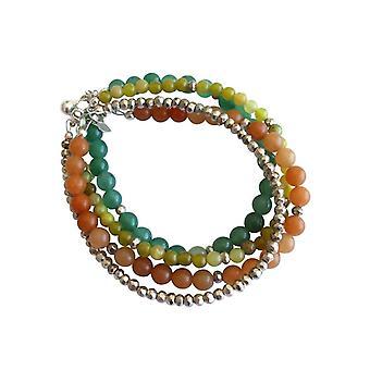 Gemshine - damas - conjunto - plata de hojas - jade - verde aventurina - verde - naranja - plata 925