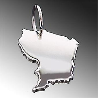 Trailer map French GUIANA necklace solid 925 Silver