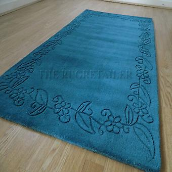 Rugs -Floral Border - Teal