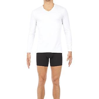 Hom klassiska v-ringad Långärmad T-shirt-vit