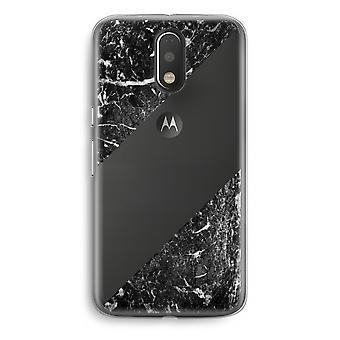 Motorola Moto G4/G4 Plus Transparent Case - Black marble