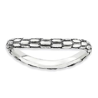 2,25 mm finition argent Sterling Patterned Antique empilable Expressions poli vieilli Wave Ring - anneau taille: 5 à 10