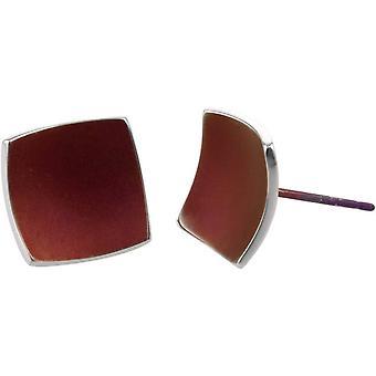TI2 titane carré bombé boucles d'oreilles - brun café
