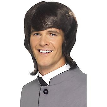 Long Brown Wavy Wig, 60's Male Mod Wig 1960's Fancy Dress Accessory